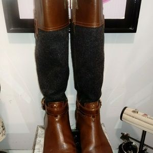 Tory Burch Tall Grey/Brown Boots